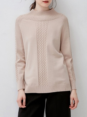 Casual Cable Long Sleeve Crew Neck Sweater_7