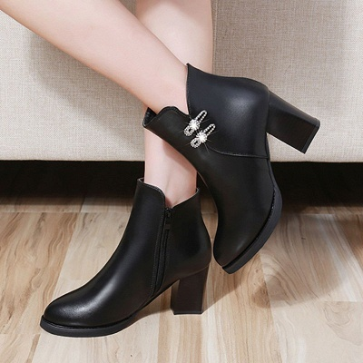 Chunky Heel Rhinestone Daily Pointed Toe Zipper Elegant Boots_9