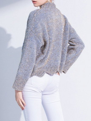 Gray Long Sleeve Casual Corduroy Stand Collar Sweater_3