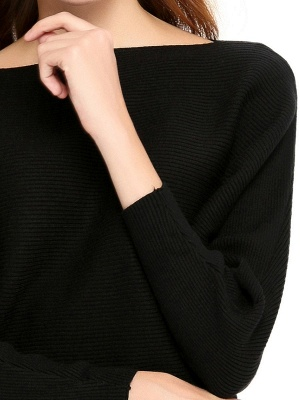 Slash Neck Batwing Simple Solid Sweater_9