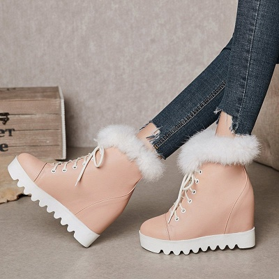 Lace-up Daily Wedge Heel Round Toe Fur PU Boot_2