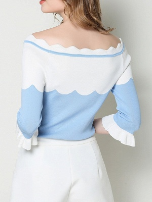Blue Casual Sheath Frill Sleeve Sweater_3