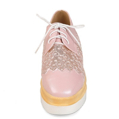 Mesh Lace-up Daily PU Pointed Toe Wedge Loafers_10