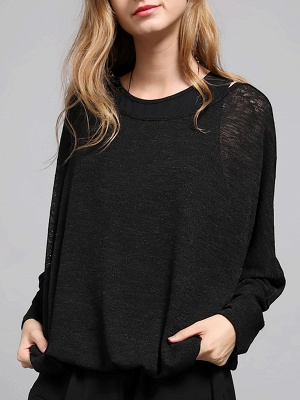 Bateau/boat neck Solid Shift Long Sleeve Casual Sweater_3