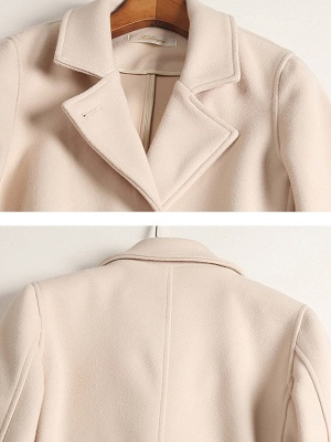 Apricot Work Wool Shift Pockets Lapel Buttoned Coat_7