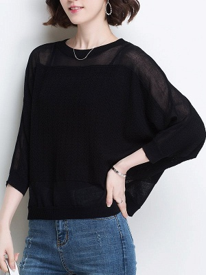 Casual Crew Neck Batwing Ice Yarn Knitted Shift Sweater_4