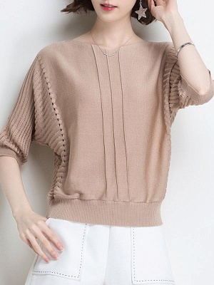 Ice Yarn Knitted Shift Casual Batwing Sweater_2