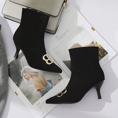 Suede Stiletto Heel Daily Pointed Toe Boot_6