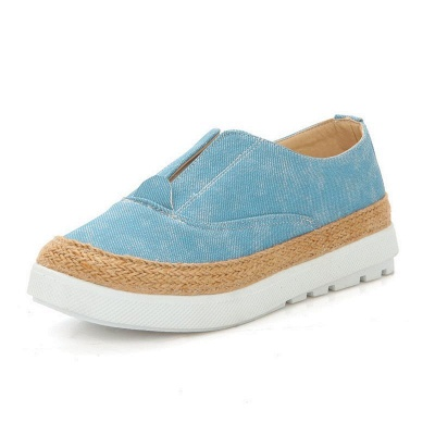 Summer Casual Round Toe Denim Wedge Loafers_8