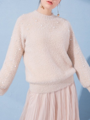 Shift Long Sleeve Solid Casual Beaded Imitation Hair Sweater_1