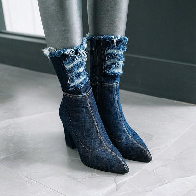 Women's Boots Dark Blue Pointed Toe Chunky Heel Boots_8