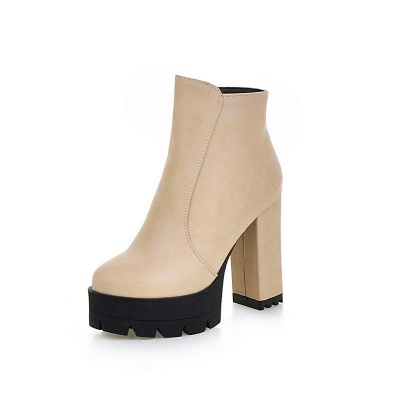 Chunky Heel Daily Zipper Round Toe Boots_16