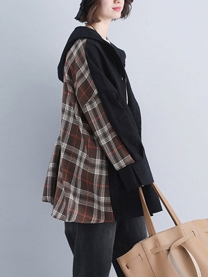 Checkered/Plaid Pockets Hoodie Batwing Coat_1