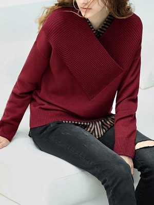 Long Sleeve Shift Casual V neck Solid Sweaters_4