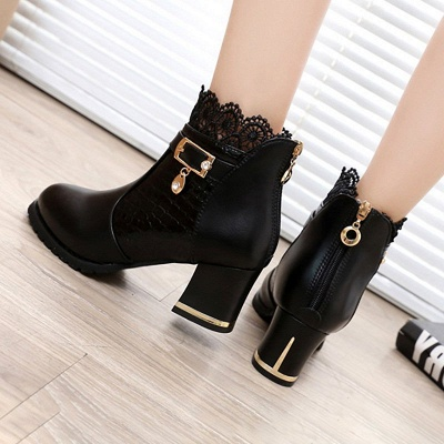 Chunky Heel Zipper Pointed Toe Buckle Boots_6