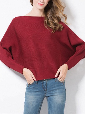 Batwing Casual Solid Sweater_3