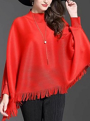 Fringed Batwing Casual Stand Collar Coat_1
