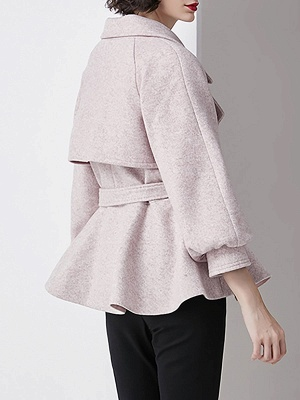 Light Pink Lapel Work Balloon Sleeve Paneled Coat_3