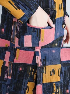 Lapel Pockets Buttoned Color-block Slit Coat_7