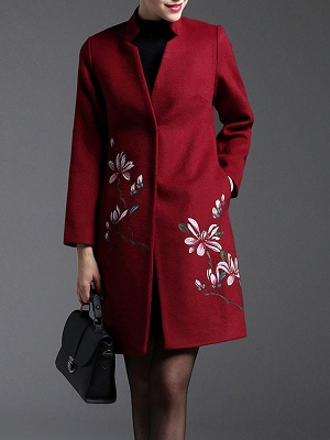 Red Floral-embroidered Pockets Buttoned Coat_4