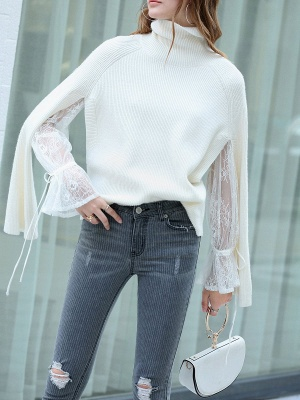Casual Long Sleeve Cutout Sweater_1