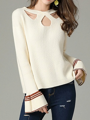 Cutout Casual Bell Sleeve Keyhole Sweater_1