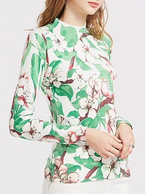 Green Crew Neck Shift Long Sleeve Floral Sweater_3