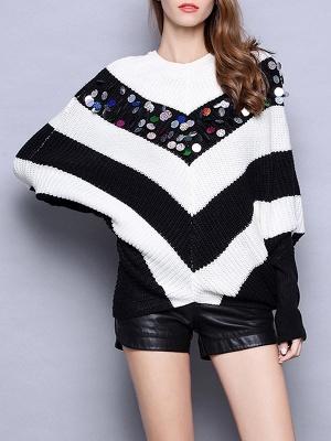 Black-white Long Sleeve Shift Cotton Sweater_6