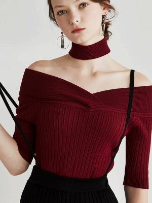 Sheath Casual Half Sleeve Ribbed Sweater_6