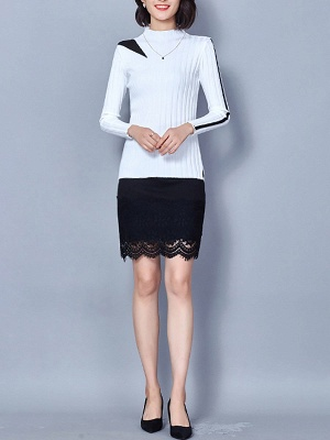 Solid Stand Collar Long Sleeve Casual Sheath Sweater_12
