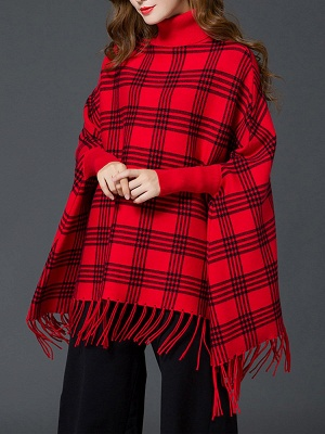 Checkered/Plaid Elegant Batwing Sweater_6