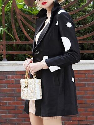 Black Polka Dots Long Sleeve Casual Coat with Brooch_5