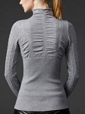 Sheath Long Sleeve Casual Solid Turtleneck Sweater_6