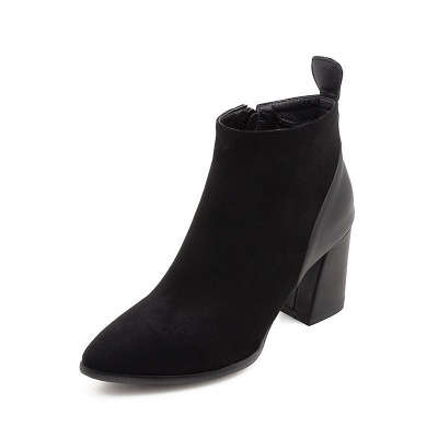 Chunky Heel Suede Elegant Round Toe Boots_8