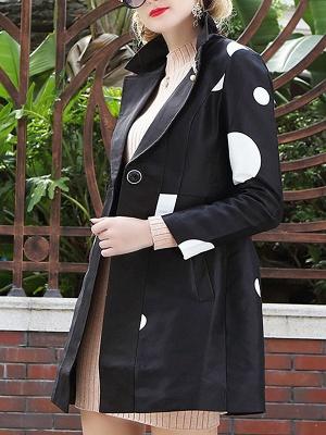 Black Polka Dots Long Sleeve Casual Coat with Brooch_4