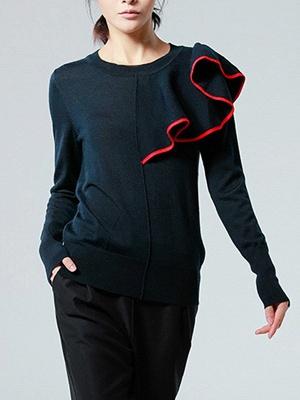 Black Paneled Long Sleeve Crew Neck Casual Wool Sweater_1