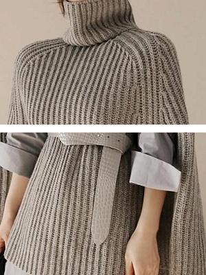 Geometric Ribbed Casual Cape Sleeve Turtleneck Sweater_7
