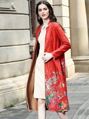 Long Sleeve Stand Collar Floral Printed Pockets Coat_8