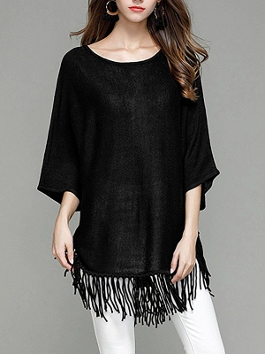 Casual Solid Batwing Sweater_9
