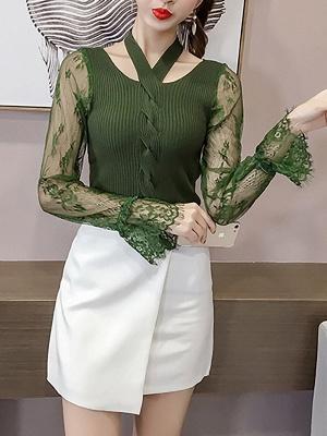 Plain Casual Long Sleeve Sweater_5
