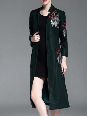 Dark Green Animal V neck Long Sleeve Coat_5