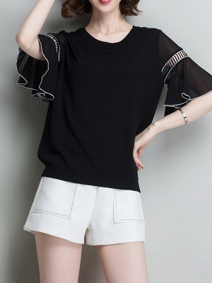 Casual Knitted Shift Frill Sleeve Binding Sweater_2