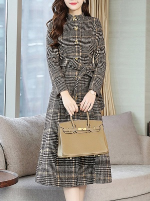 Gray Checkered/plaid Buttoned Work Stand Collar Coats_5