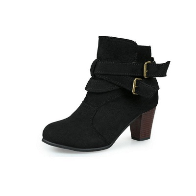 Suede Buckle Chunky Heel Daily Elegant Round Toe Boot_7