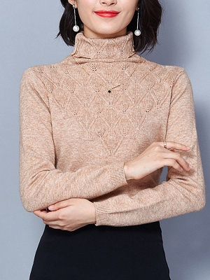 Sheath Turtleneck Long Sleeve Casual Embossed Sweater_4
