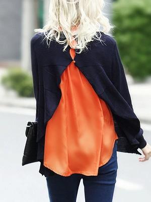 Blue-Orange Solid Long Sleeve Casual Paneled Sweater_3