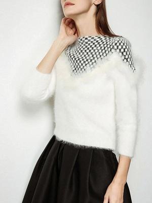 Long Sleeve Checkered/Plaid Sheath Casual Sweater_7
