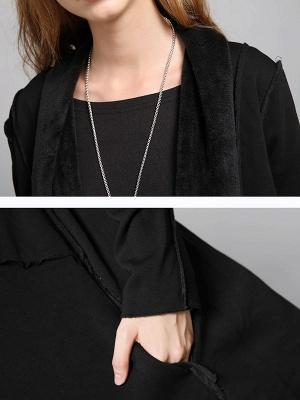 Shawl Collar Asymmetric Solid Casual Long Sleeve Coat_7