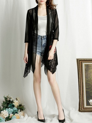Floral Embroidered Casual 3/4 Sleeve Asymmetric Coat_6