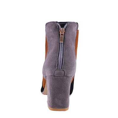 Zipper Daily Chunky Heel Pointed Toe Suede Elegant Boots_13